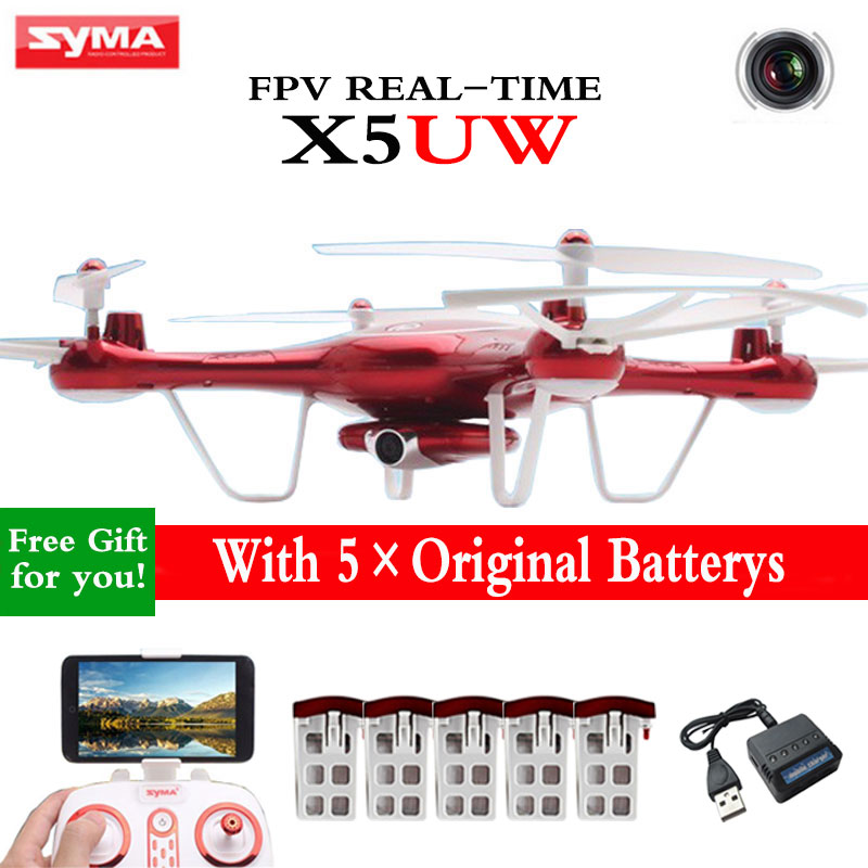 Hot Sell SYMA X5UW 2.4G 4-CH 6-Axis Quadcopter FPV Real-Time Drone WIFI Camera HD Transmission RC Helicopter Dron Gift syma x5sw fpv dron 2 4g 6 axisdrones quadcopter drone with camera wifi real time video remote control rc helicopter quadrocopter