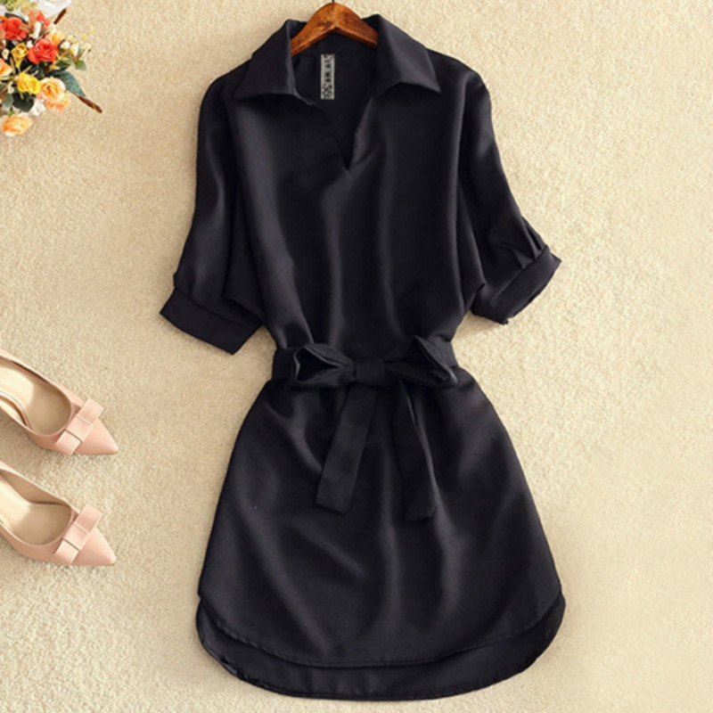 Shirts Women 2019 Summer Casual Dress Fashion Office Lady Solid Red Chiffon Dresses For Women Sashes