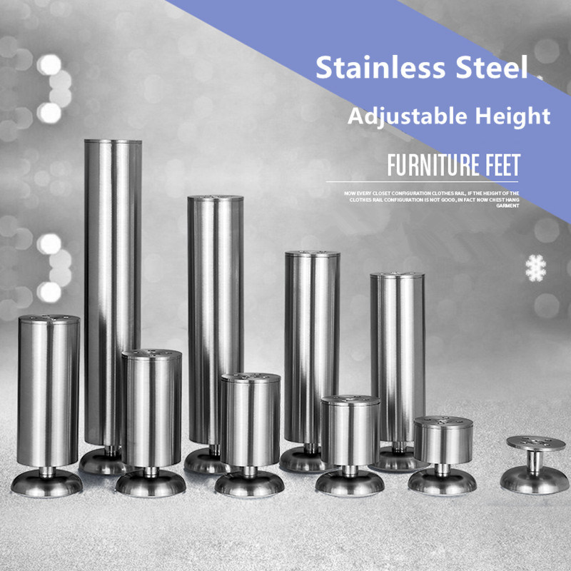 6-40cm Adjustable Height Furniture Legs Made By Stainless Steel Bearing 200KG Support For Table Sofa Bed Kitchen Cabinet