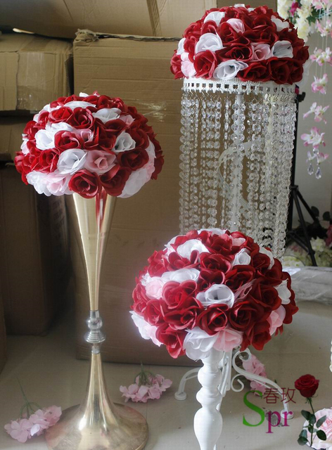 Mix Red White Wedding Kissing Flower Ball 30cm Holiday Decorations Party  Wedding Table Centerpieces Flower Ball