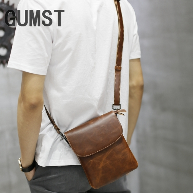 GUMST Fashion New Design Men Bags Handbag Crazy Horse PU Leather Bag Men Small Shoulder Handbags Male Messenger Crossbody Bag