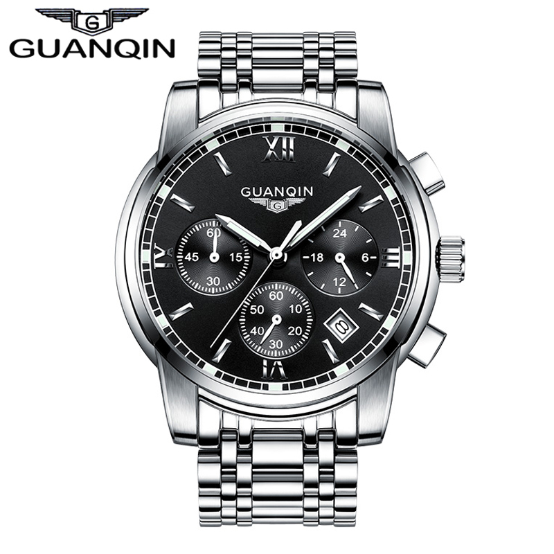 ФОТО Brand GUANQIN men Quartz Watch New Luxury Steel Fashion Clock hours Male Men's business multifunctional wristwatch Calendar
