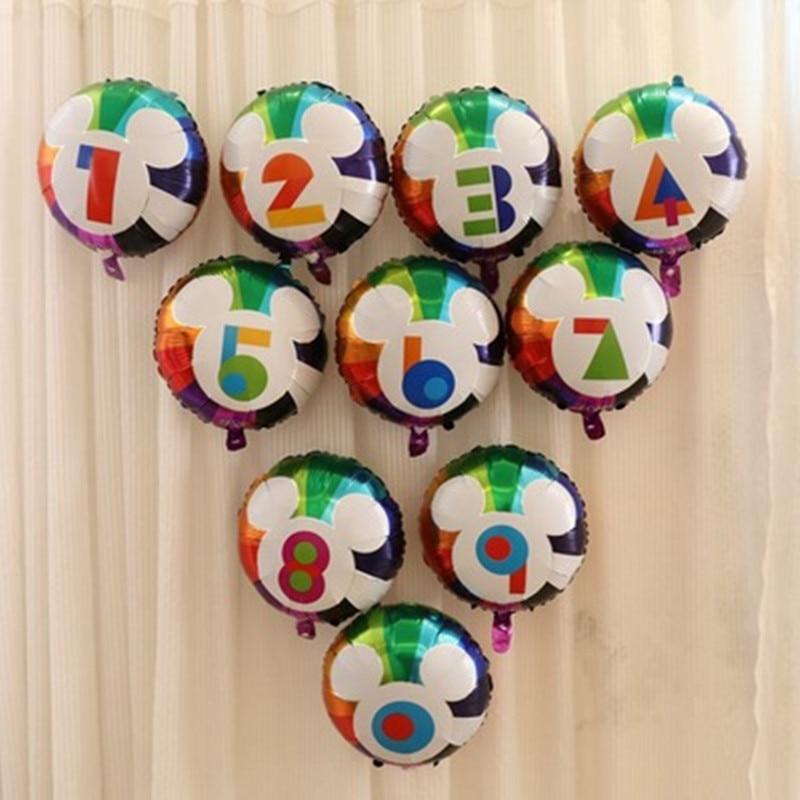 18inch Mickey Number Foil Balloons Digit Helium Balloon wedding Birthday balloon