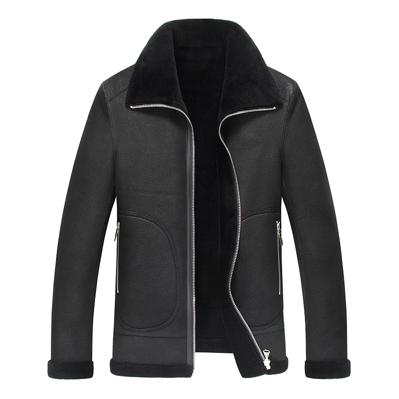 New black Color Real Shearling Coat Natural Sheepskin Suede Men Jacket long Clothes Thick Overcoat(China)