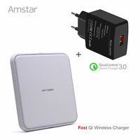 Amstar Qi Fast Wireless Charger Qi Charger 10W Wireless Charging Pad QC3 0 USB Wall Charger