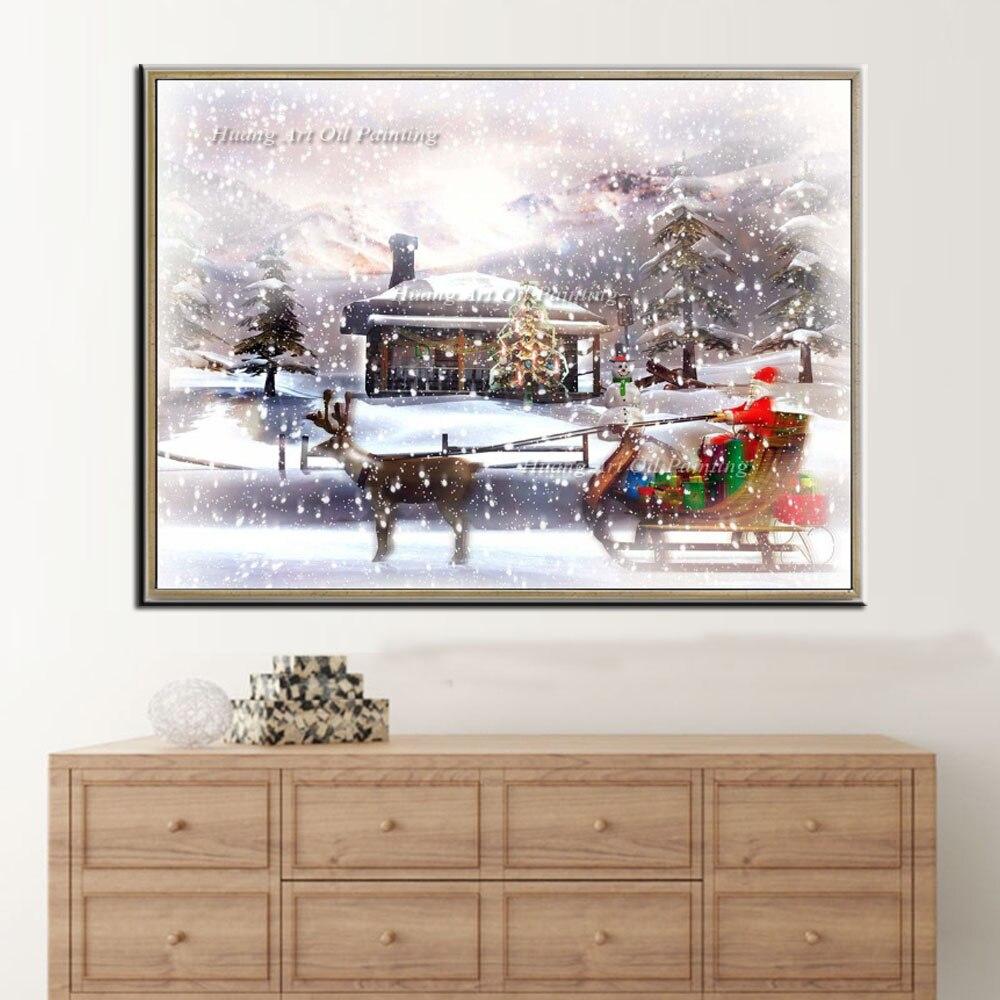 Handgeschilderde Schilderen op Canvas Moderne Kerstman Rit Herten Sneeuw Landschap Olieverf Art voor Decoratie Gift - 3