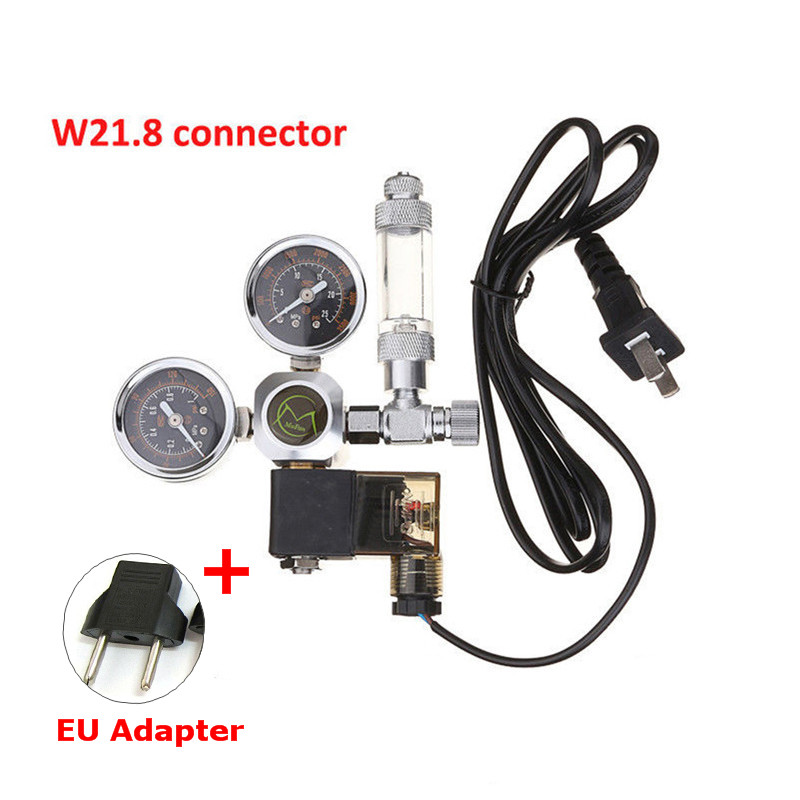 220V Aquarium CO2 Regulator Magnetic Solenoid Check Valve Aquarium Bubble Counter W21.8 Water Plant Fish Tank Tool CO2 Control