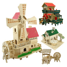 Model Building Kits Wood Buildings Model Wooden 1:100 Scale Wooden Models Doll House Assembled Wooden Kit DIY Construction Toys