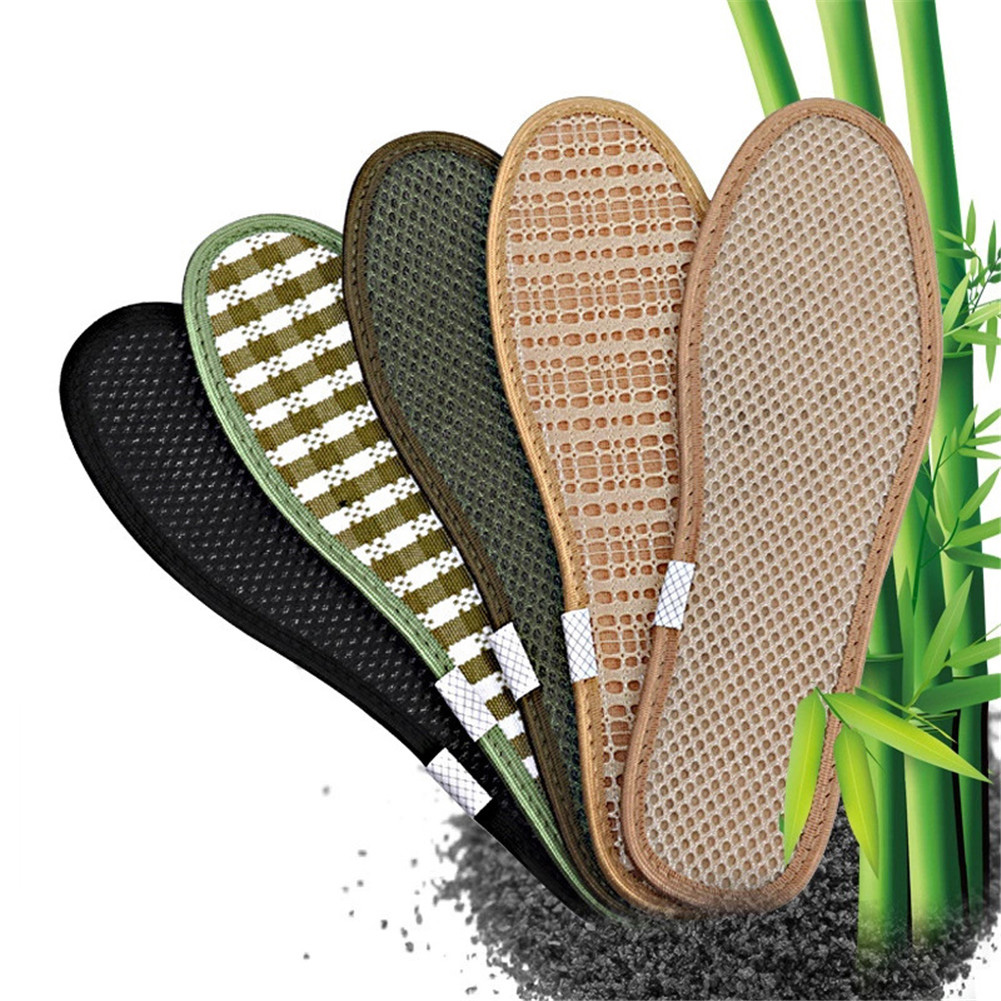Unisex Summer Woven Bamboo Charcoal Linen Insoles Sports Breathable Anti-Bacterial Insoles Comfortable Insoles