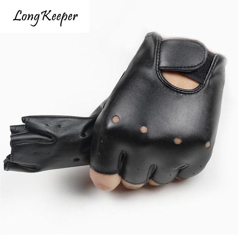 29c25c162 Long Keeper Cool Leather Gloves For Kids Fingerless Semi fingerless Glove  For 5-13 Years Child Half-finger Children mittens G078