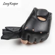 Long Keeper Cool Läderhandskar För Barn Fingerless Halvfingerlös Handske I 5-13 år Barn Halvfingrar Barnbyxor G078