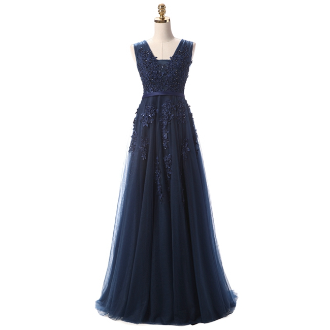 Robe De Soiree SSYFashion, кружевное, с бисером, сексуальное, с открытой спиной, длинное вечернее платье, для невесты, банкета, элегантное, длина до пола, для вечеринки, выпускного вечера - Цвет: Dark Blue