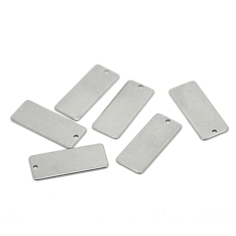 300Pcs Silver Tone Rectangle Blank Stamping Tags Stainless Steel Pendants Jewelry Findings Charms 21x9mm