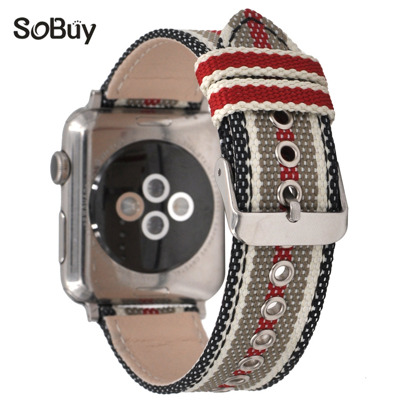 So buy for apple watch series 1/2/3 42mm band for iwatch bracelet 38mm nylon leather belt i watch Genuine leather Wrist strap
