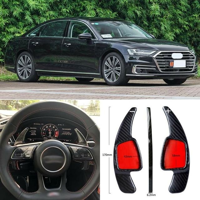 $ 103.39 Carbon Fiber Gear DSG Steering Wheel Paddle Shifter Cover Fit For Audi A8 2018