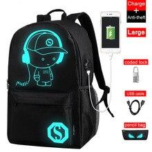 Новинка, Подростковый рюкзак для школы, светящийся, usb зарядка, противоугонные рюкзаки, школьный рюкзак в мужских повседневных рюкзаках