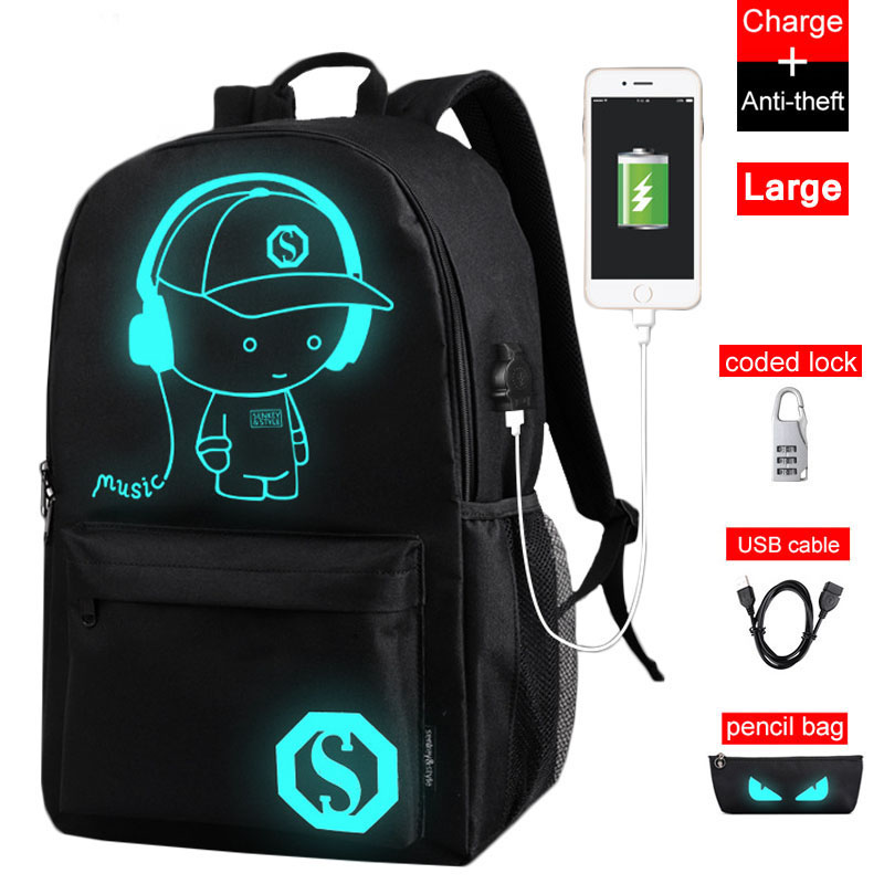 Raged Sheep New Teenager School Backpacks Luminous USB Charging anti theft backpacks school backpack in men