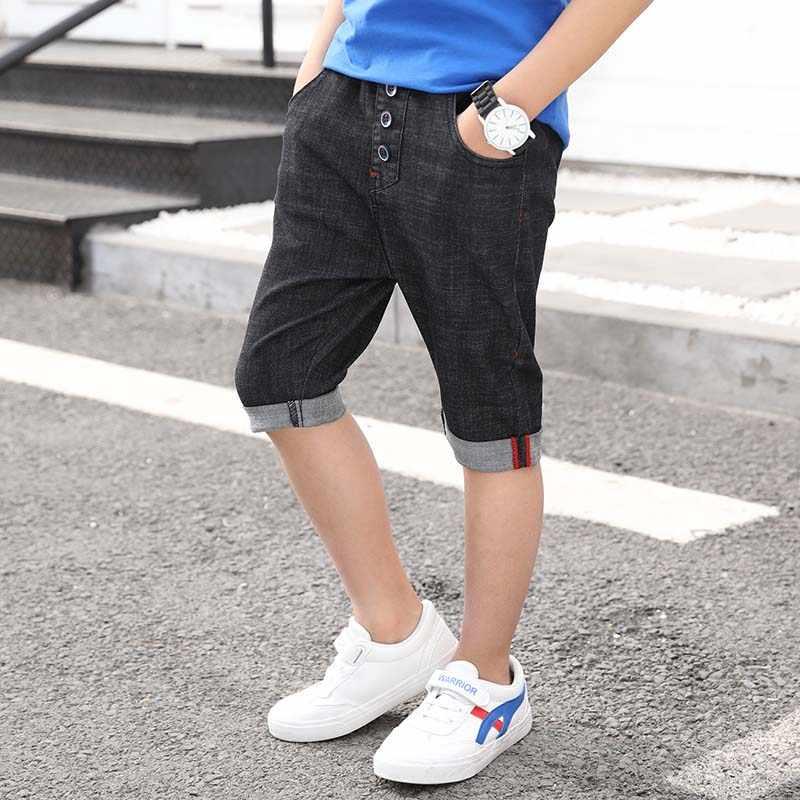 Новые короткие штаны для маленьких мальчиков, детские летние джинсовые шорты черного и синего цвета с эластичной резинкой на талии, хлопковая одежда для мальчиков-подростков 4-13 лет