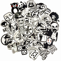 50Pcs/Lot Random black&white DIY Stickers For Skateboard Laptop Luggage Snowboard Fridge Toy CarStyling home decor Stickers
