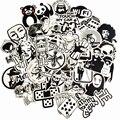 50 unids/lote pegatinas blancas y negras aleatorias para Skateboard Laptop equipaje Snowboard nevera juguete CarStyling decoración del hogar pegatinas