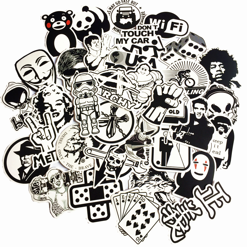 50Pcs/Lot Random black&white DIY Stickers For Skateboard Laptop Luggage Snowboard Fridge Toy CarStyling home decor Stickers totoro fridge stickers fridge magnite magnetic stickers car style home decor cell decor cartoon animal action figure toys