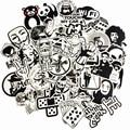 50Pcs/Lot Random black&white DIY Stickers For Skateboard Laptop Luggage Snowboard Fridge Toy CarStyling home decor Stickers