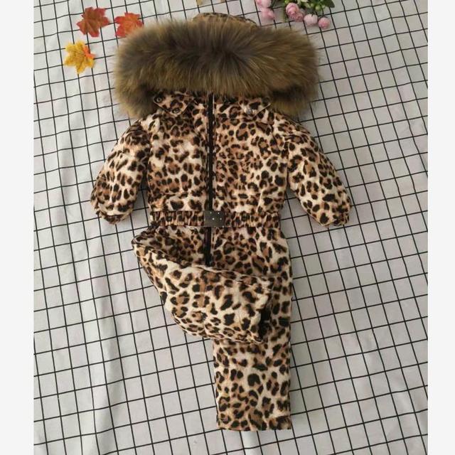 Bas combinaison pour enfants à capuche vêtements de neige plus épais chaud vêtements dextérieur véritable col de fourrure imprimé léopard enfants hiver doudoune Y1704