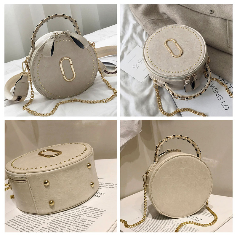 Image 2 - Beibaobao Circular Fashion Bags PU Leather Messenger Women Bags Rivet Crossbody Packages Female Shoulder Bags For Girls-in Top-Handle Bags from Luggage & Bags