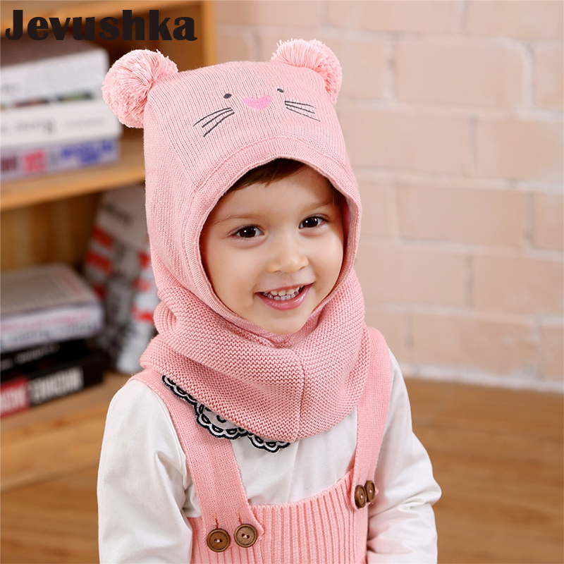 Baby Toddler Girls Boy Fleece Knitted Beanie Hat Bear Ear Winter Warm Scarf Sets