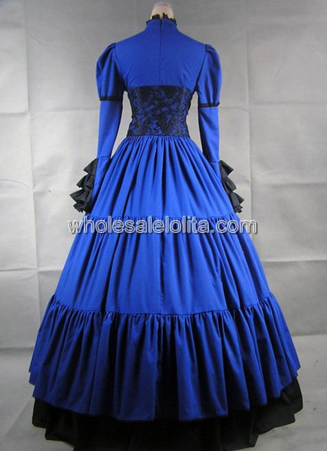 Синий и черный одежда с длинным рукавом готический, викторианской эпохи платье