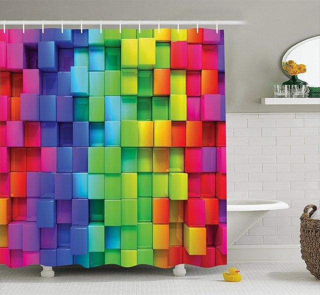 Colorful Home Decor Shower Curtain Rainbow Color Contour Display Futuristic Block Brick Like Geometric Artisan