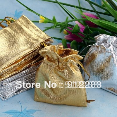 Free Shipping Wholesale 100Pcs Gold & Silver 5.5x7cm Drawstring Organza Pouch BagJewelry Bag,ChristmasWedding Gift Bag