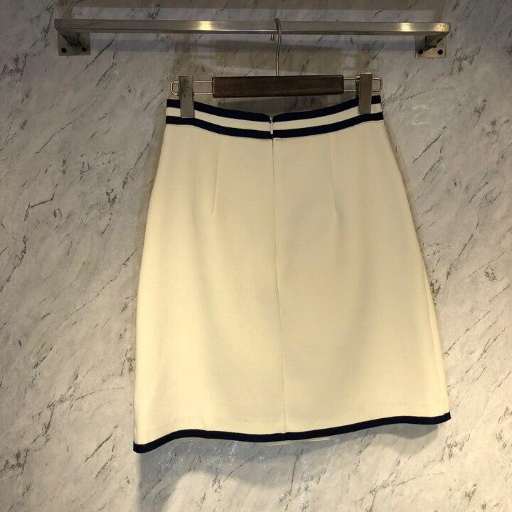 Mujer longitud Ligeramente La Nueva Primavera Relaja Y Cintura Dividir blanco Azul Con De Bolsillo 2019 Simétrica Mitad Verano 0319 Falda wXPXZq