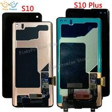 Schwarz 6.1 AMOLED LCD für SAMSUNG S10 LCD G973 Display G973F Touchscreen Digitizer Für SAMSUNG Galaxy S10 Plus LCD G975 G975F