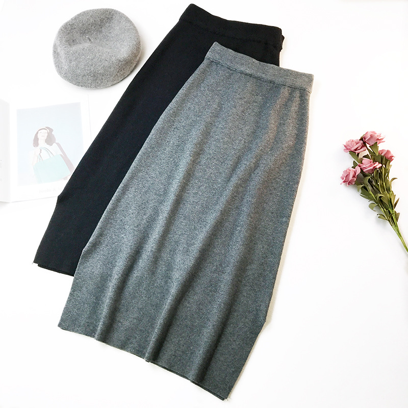 Image 2 - Autumn Winter Women Midi Long Sweater Skirt Elastic High Waist Tie Bow Knitted Skirts Female All Match Split A Line Skirt AB1271-in Skirts from Women's Clothing