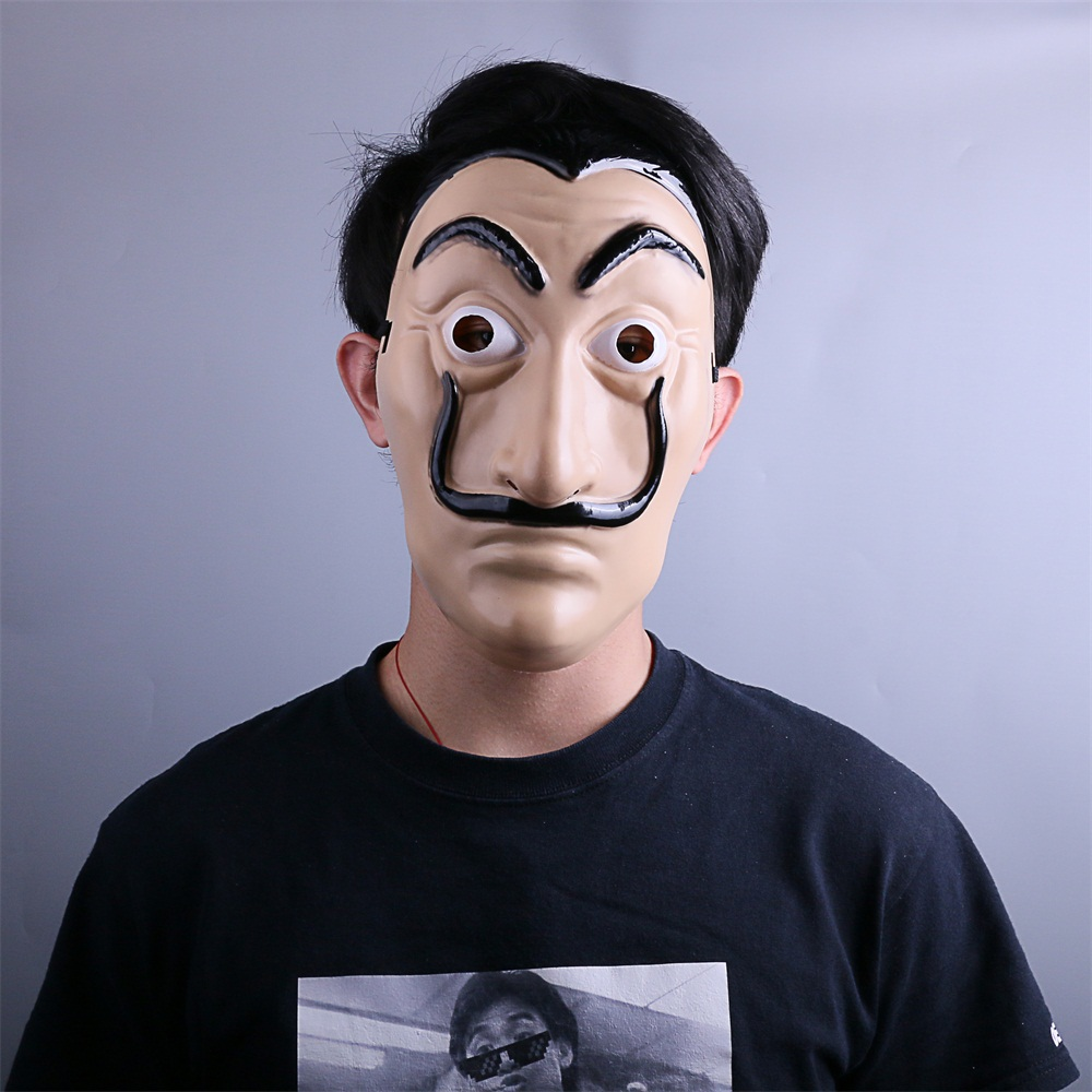 La Casa De Papel Mask Salvador Dali Latex Mask Cosplay Halloween Realistic Adult Party Costume Props