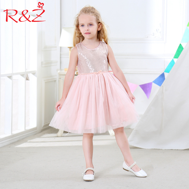 R&Z Baby Girls Dress 2017 Summer O-neck Sequins Vest Princess Wedding Party Pure Cotton Net Yarn Dress for Girls Kids Clothes k1 цена
