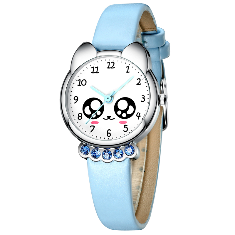 KDM 2019 Girl Watch Kids Cute Fox Genuine Leather Watches Luxury Diamond Waterproof Lovely Kid Children Wristwatch Student Clock