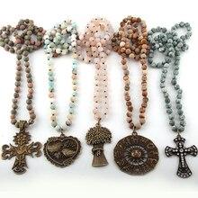 Модное богемное этническое ювелирное изделие длинное из натурального камня завязанные металлические подвесные ожерелья женское этническое ожерелье