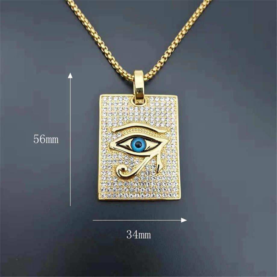 Starożytny egipt oko horusa wisiorek naszyjniki złoty kolor stal nierdzewna kwadratowe naszyjniki mrożona błyszczące biżuteryjne Dropshipping