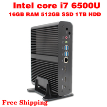 Mini pc core i7 6500u макс 3.1 ГГц 16 ГБ ram 512 ГБ ssd 1 ТБ hdd micro pc htpc intel hd graphics 520 tv box usb 3.0