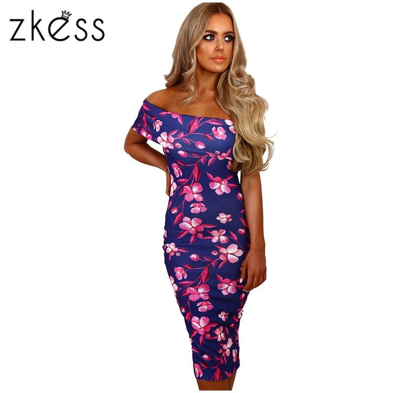 Zkess elegante floral impresión MIDI vestido mujeres de hombro ...