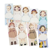 30 Pcs/lot Different Lovely Girls With Curly Hair Paper Bookmark Vintage Cards  Bookmarks For Books Postcard
