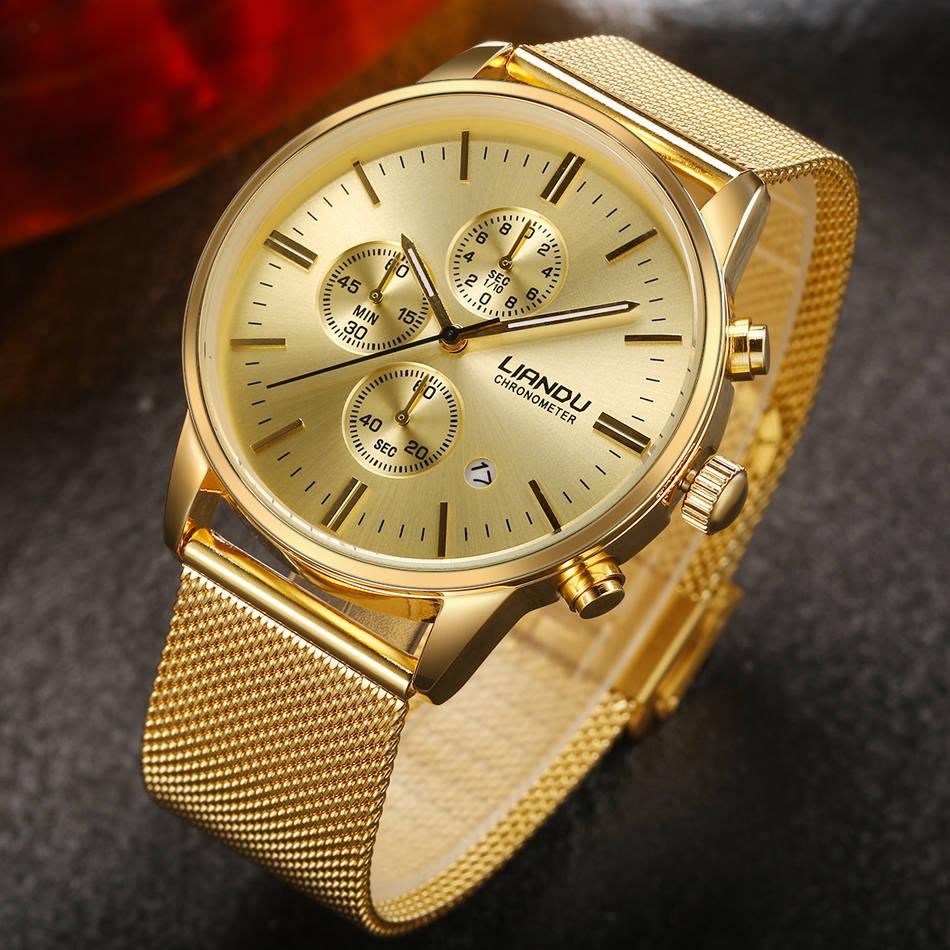 HTB1spMxQXXXXXbXXFXXq6xXFXXXb - LIANDU Gold Black Luxury Fashion Watch for Men