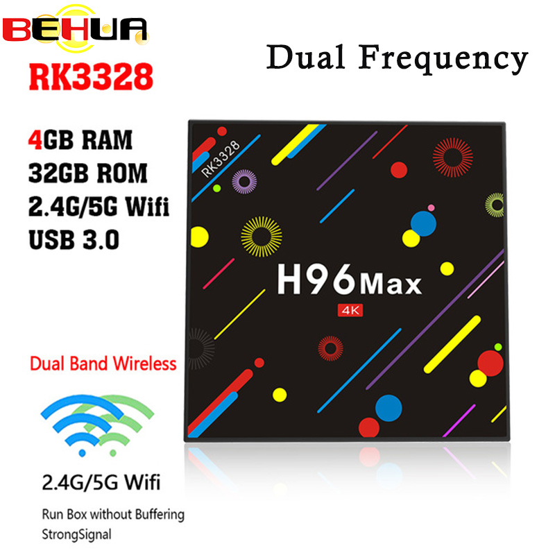 New H96 MAX H2 Android 7.1 smart TV box Rockchip RK3328 Quad-core 4GB RAM 32 ROM kodi Suppot H.265 UHD BT 4K 5G WiFi Set-top box