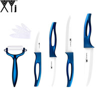 XYJ Brand Blue Handle White Blade Kitchen Knife Best Ceramic Knife Set 6 Inch 5 Inch