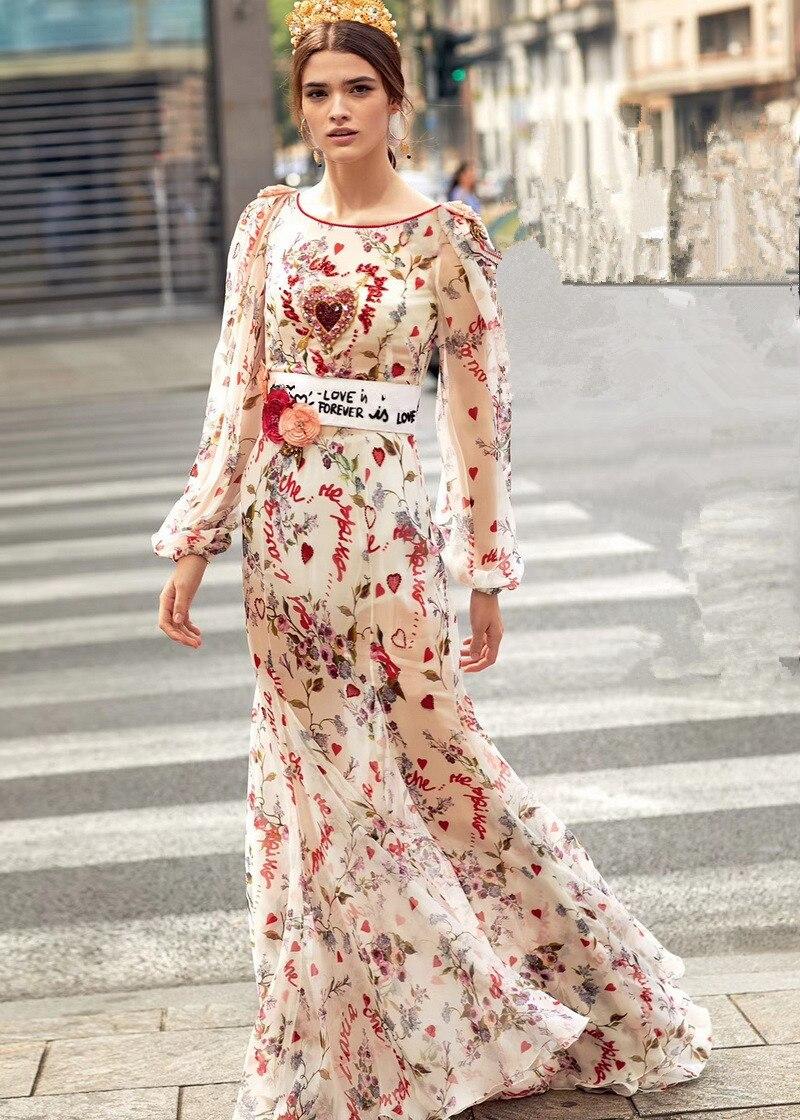 Haute qualité 70% soie à manches longues BOHO robe nouveau 2018 été runways lettre imprimer robe élégante mode femmes robes de soirée S347