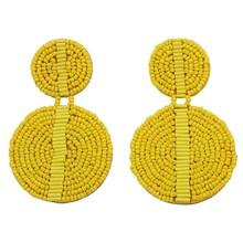 цена Fashion Orange Blue Resin Beaded Earrings For Women Geometric Girls Wedding Jewelry Dangle Statement Earrings