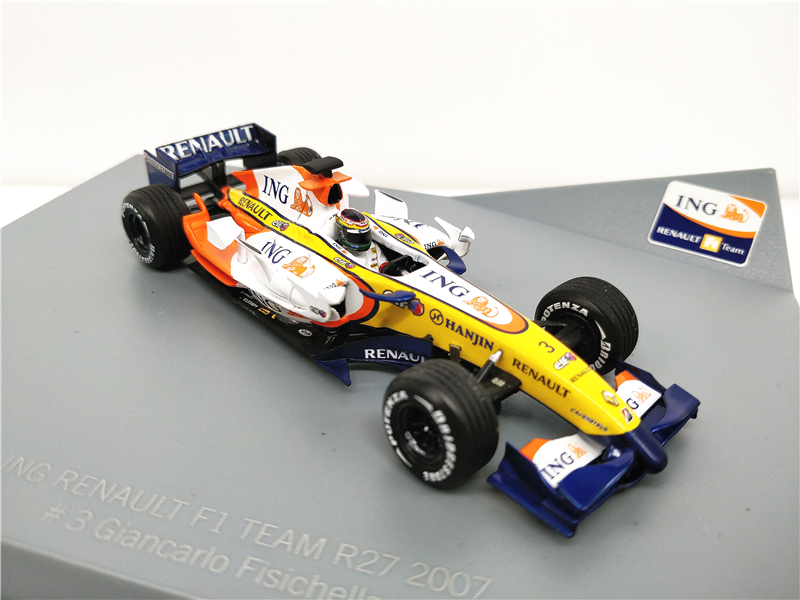 1:43 ING F1 2007 Renault Force India Team R27 Formula One Racing Diecast Model Car Miniature Vehicle bburago 1 43 f1 2018 sf71h formula one racing car diecast model car