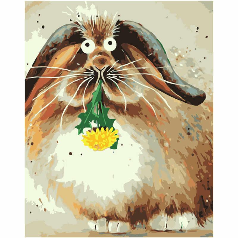 الطلاء بواسطة أرقام شحن مجاني 40x50 50x65 سنتيمتر غريب جدا حيوان الضأن الصغير قماش زينة الزفاف صورة فنية هدية